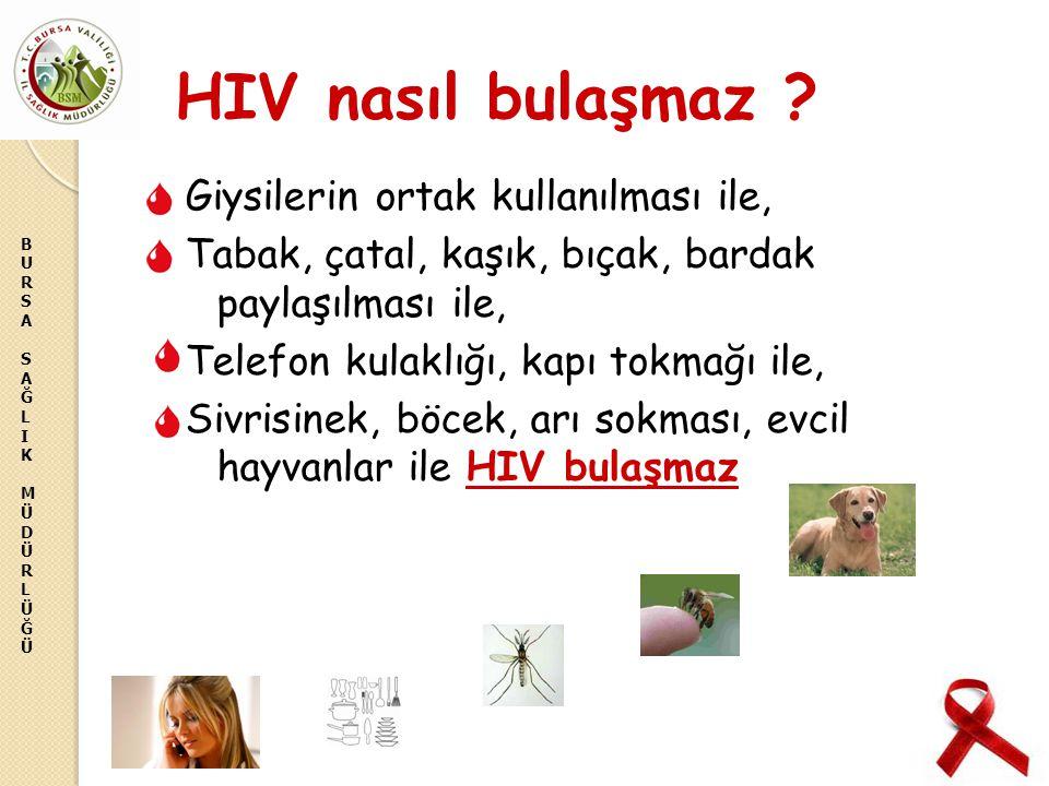 BURSASAĞLIKMÜDÜRLÜĞÜBURSASAĞLIKMÜDÜRLÜĞÜ HIV nasıl bulaşmaz ? Giysilerin ortak kullanılması ile, Tabak, çatal, kaşık, bıçak, bardak paylaşılması ile,