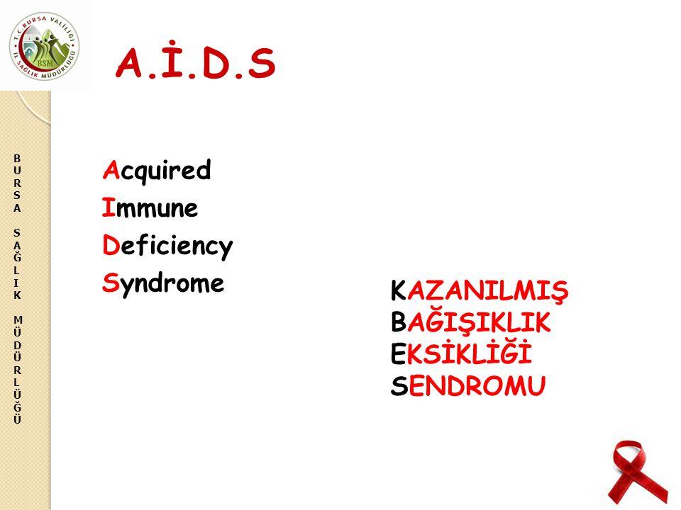 BURSASAĞLIKMÜDÜRLÜĞÜBURSASAĞLIKMÜDÜRLÜĞÜ A.İ.D.S Acquired Immune Deficiency Syndrome KAZANILMIŞ BAĞIŞIKLIK EKSİKLİĞİ SENDROMU