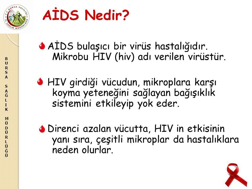 BURSASAĞLIKMÜDÜRLÜĞÜBURSASAĞLIKMÜDÜRLÜĞÜ AİDS Nedir? AİDS bulaşıcı bir virüs hastalığıdır. Mikrobu HIV (hiv) adı verilen virüstür. HIV girdiği vücudun