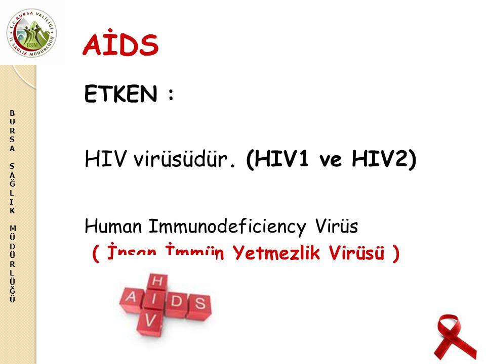 BURSASAĞLIKMÜDÜRLÜĞÜBURSASAĞLIKMÜDÜRLÜĞÜ AİDS ETKEN : HIV virüsüdür. (HIV1 ve HIV2) Human Immunodeficiency Virüs ( İnsan İmmün Yetmezlik Virüsü )