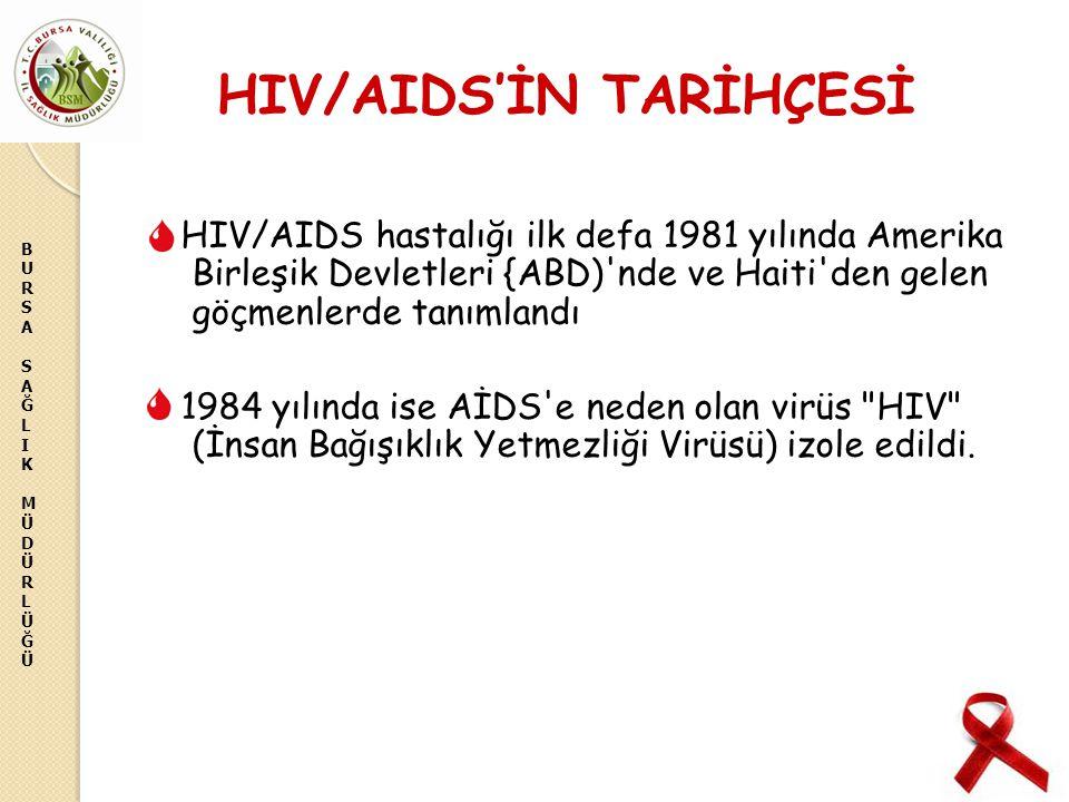 BURSASAĞLIKMÜDÜRLÜĞÜBURSASAĞLIKMÜDÜRLÜĞÜ HIV/AIDS'İN TARİHÇESİ HIV/AIDS hastalığı ilk defa 1981 yılında Amerika Birleşik Devletleri {ABD)'nde ve Haiti