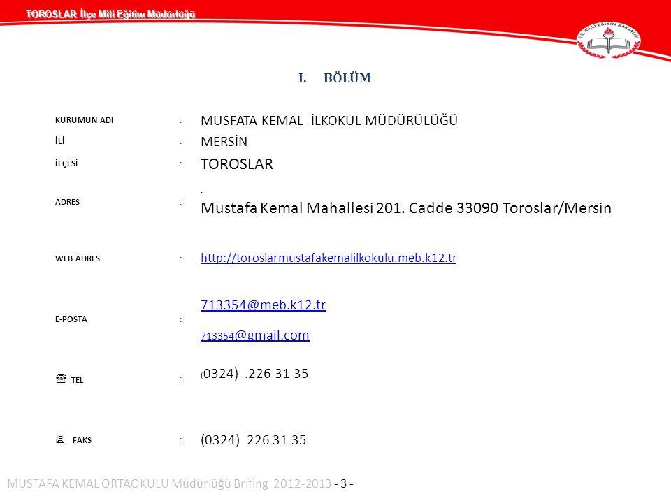 I.BÖLÜM KURUMUN ADI: MUSFATA KEMAL İLKOKUL MÜDÜRÜLÜĞÜ İLİ: MERSİN İLÇESİ: TOROSLAR ADRES:. Mustafa Kemal Mahallesi 201. Cadde 33090 Toroslar/Mersin WE