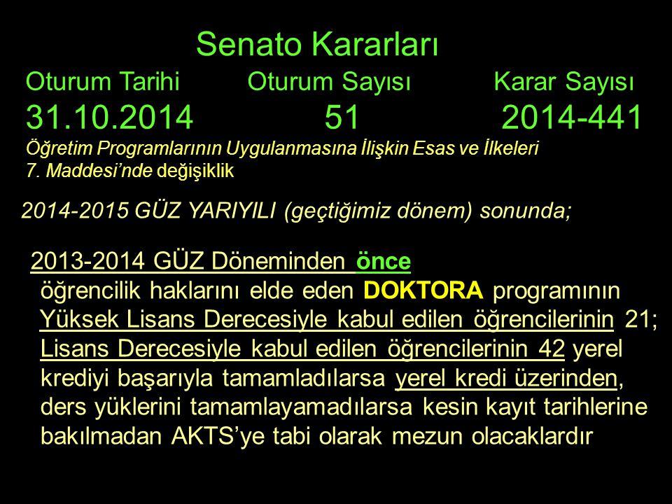 Senato Kararları Oturum Tarihi Oturum Sayısı Karar Sayısı 31.10.2014 51 2014-441 Öğretim Programlarının Uygulanmasına İlişkin Esas ve İlkeleri 7.