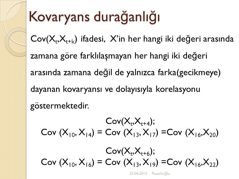 Kovaryans dura ğ anlı ğ ı 25.04.2015Pazarlıo ğ lu Cov(X t,X t+k ) ifadesi, X'in her hangi iki de ğ eri arasında zamana göre farklılaşmayan her hangi iki de ğ eri arasında zamana de ğ il de yalnızca farka(gecikmeye) dayanan kovaryansı ve dolayısıyla korelasyonu göstermektedir.