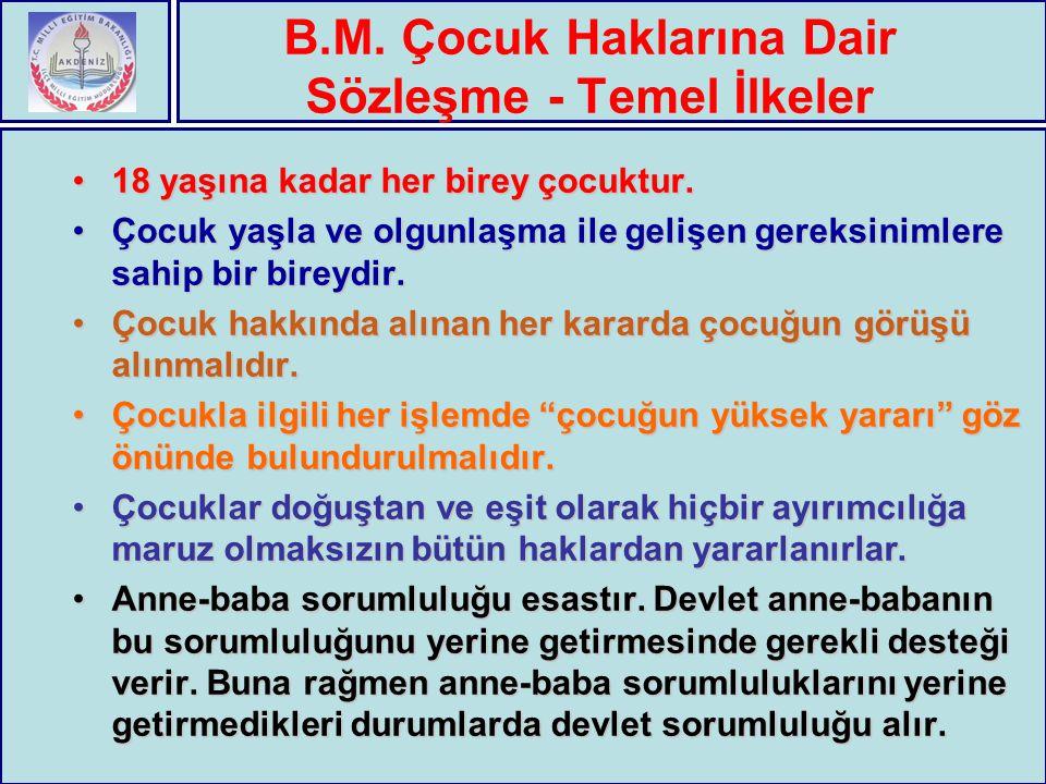B.M. Çocuk Haklarına Dair Sözleşme - Temel İlkeler 18 yaşına kadar her birey çocuktur.18 yaşına kadar her birey çocuktur. Çocuk yaşla ve olgunlaşma il