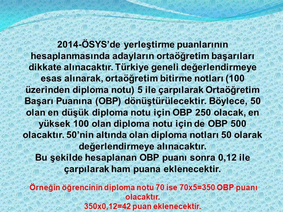 2014-ÖSYS'de yerleştirme puanlarının hesaplanmasında adayların ortaöğretim başarıları dikkate alınacaktır. Türkiye geneli değerlendirmeye esas alınara