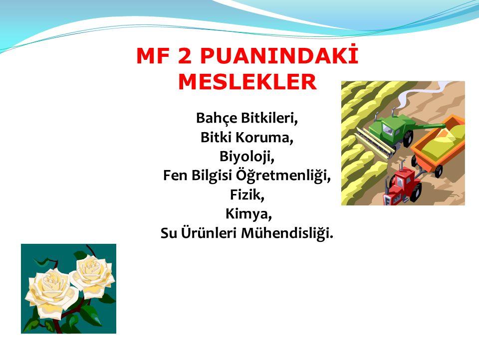 MF 2 PUANINDAKİ MESLEKLER Bahçe Bitkileri, Bitki Koruma, Biyoloji, Fen Bilgisi Öğretmenliği, Fizik, Kimya, Su Ürünleri Mühendisliği.