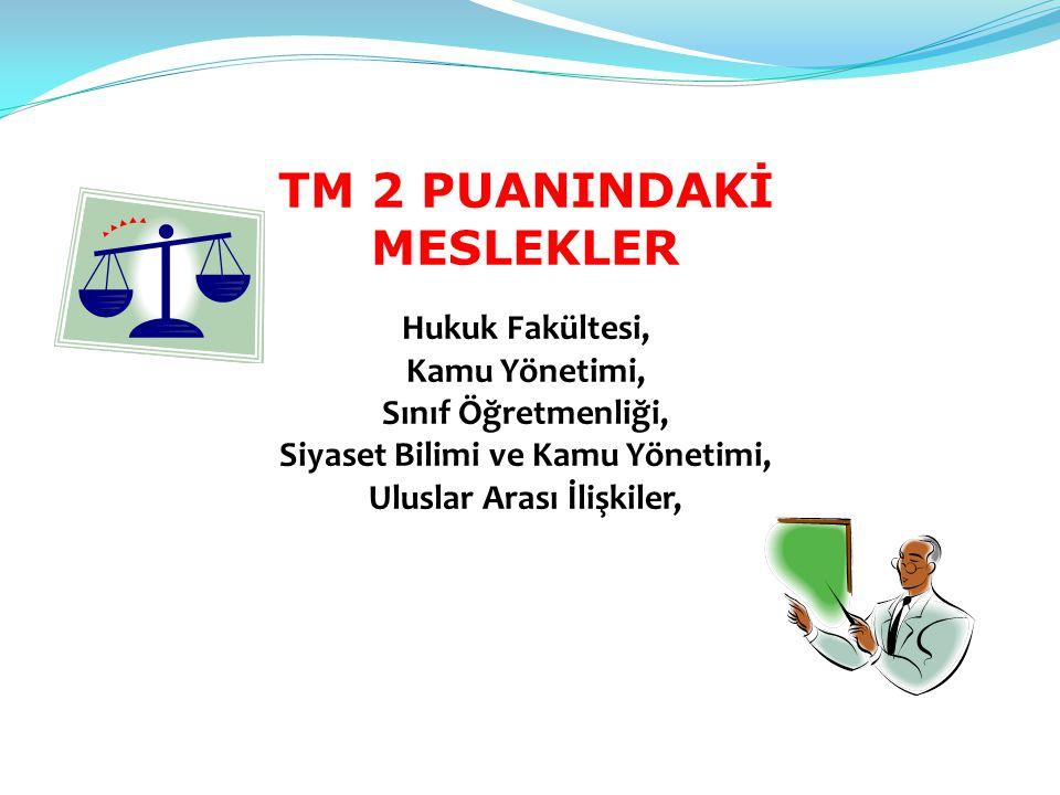 TM 2 PUANINDAKİ MESLEKLER Hukuk Fakültesi, Kamu Yönetimi, Sınıf Öğretmenliği, Siyaset Bilimi ve Kamu Yönetimi, Uluslar Arası İlişkiler,