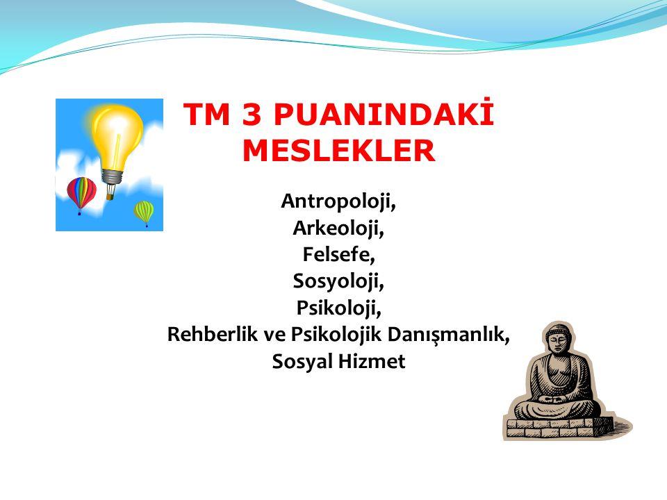 TM 3 PUANINDAKİ MESLEKLER Antropoloji, Arkeoloji, Felsefe, Sosyoloji, Psikoloji, Rehberlik ve Psikolojik Danışmanlık, Sosyal Hizmet
