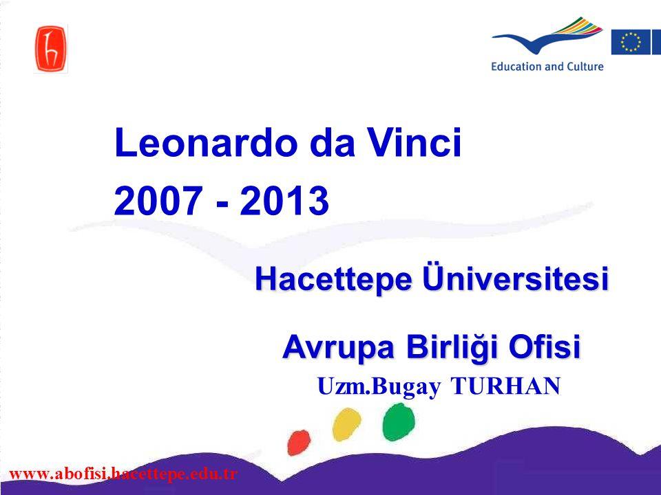 www.abofisi.hacettepe.edu.tr Hacettepe Üniversitesi Avrupa Birliği Ofisi Leonardo da Vinci 2007 - 2013 Uzm.Bugay TURHAN