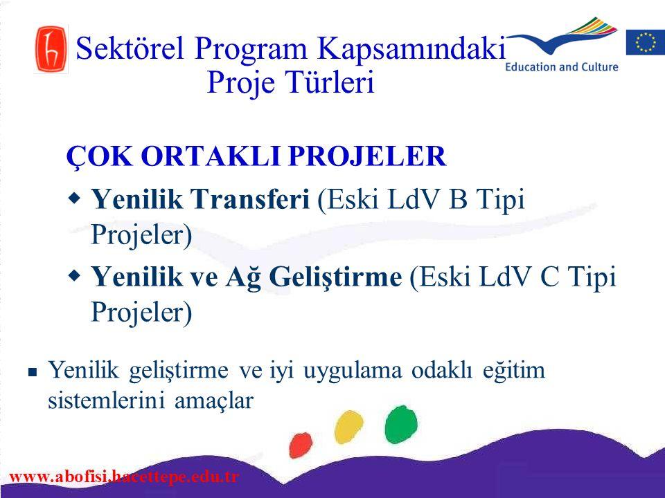 www.abofisi.hacettepe.edu.tr ÇOK ORTAKLI PROJELER  Yenilik Transferi (Eski LdV B Tipi Projeler)  Yenilik ve Ağ Geliştirme (Eski LdV C Tipi Projeler)