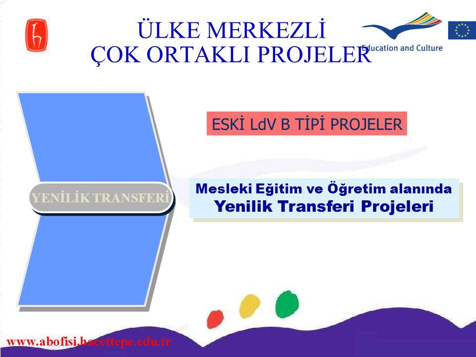 www.abofisi.hacettepe.edu.tr YENİLİK TRANSFERİ Mesleki Eğitim ve Öğretim alanında Yenilik Transferi Projeleri ESKİ LdV B TİPİ PROJELER ÜLKE MERKEZLİ Ç