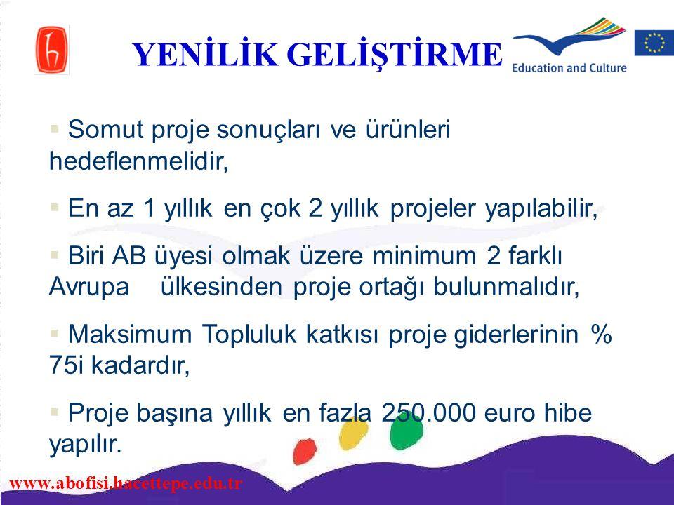 www.abofisi.hacettepe.edu.tr  Somut proje sonuçları ve ürünleri hedeflenmelidir,  En az 1 yıllık en çok 2 yıllık projeler yapılabilir,  Biri AB üye
