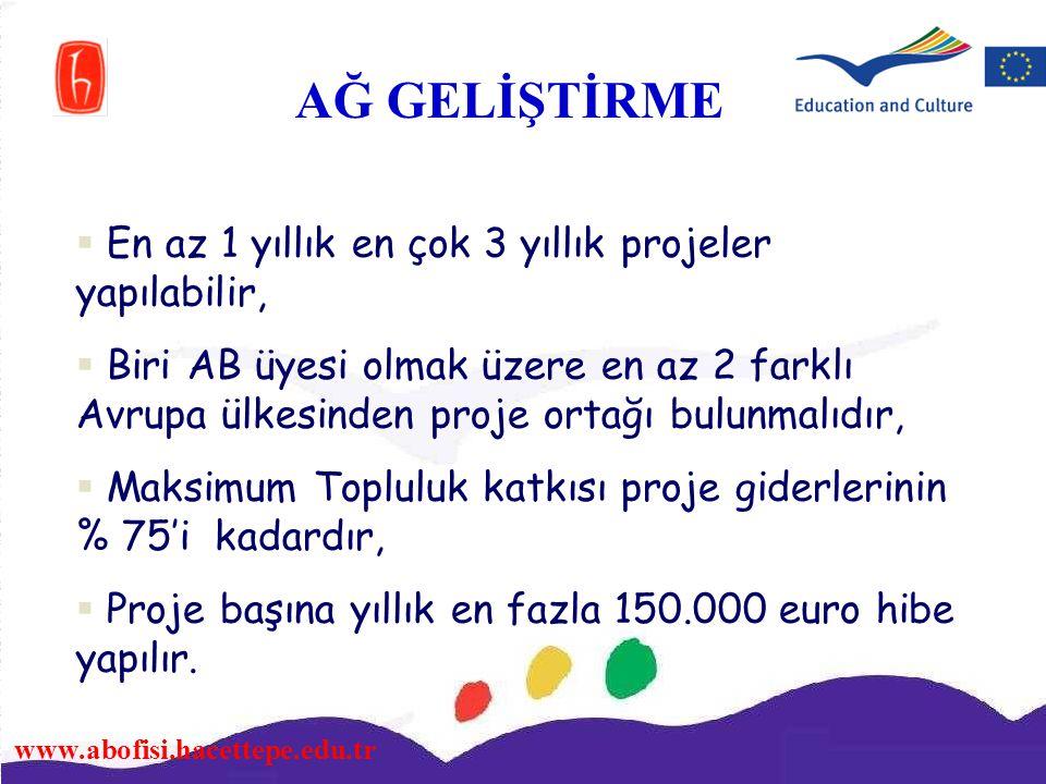 www.abofisi.hacettepe.edu.tr  En az 1 yıllık en çok 3 yıllık projeler yapılabilir,  Biri AB üyesi olmak üzere en az 2 farklı Avrupa ülkesinden proje