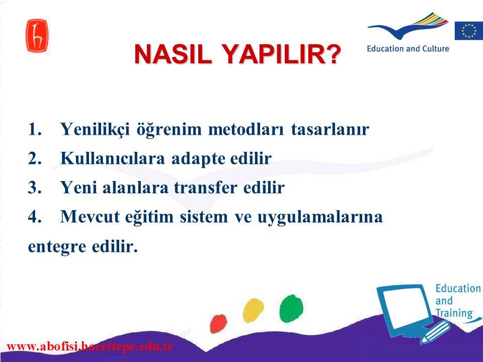 www.abofisi.hacettepe.edu.tr NASIL YAPILIR? 1.Yenilikçi öğrenim metodları tasarlanır 2.Kullanıcılara adapte edilir 3.Yeni alanlara transfer edilir 4.M