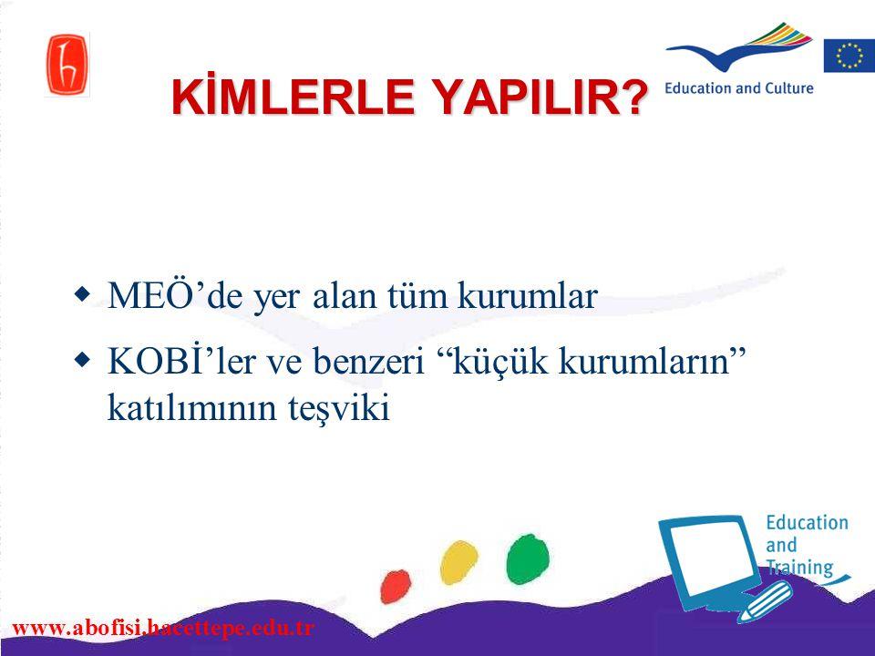 """www.abofisi.hacettepe.edu.tr KİMLERLE YAPILIR?  MEÖ'de yer alan tüm kurumlar  KOBİ'ler ve benzeri """"küçük kurumların"""" katılımının teşviki"""