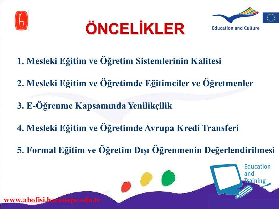 www.abofisi.hacettepe.edu.tr ÖNCELİKLER 1. Mesleki Eğitim ve Öğretim Sistemlerinin Kalitesi 2. Mesleki Eğitim ve Öğretimde Eğitimciler ve Öğretmenler