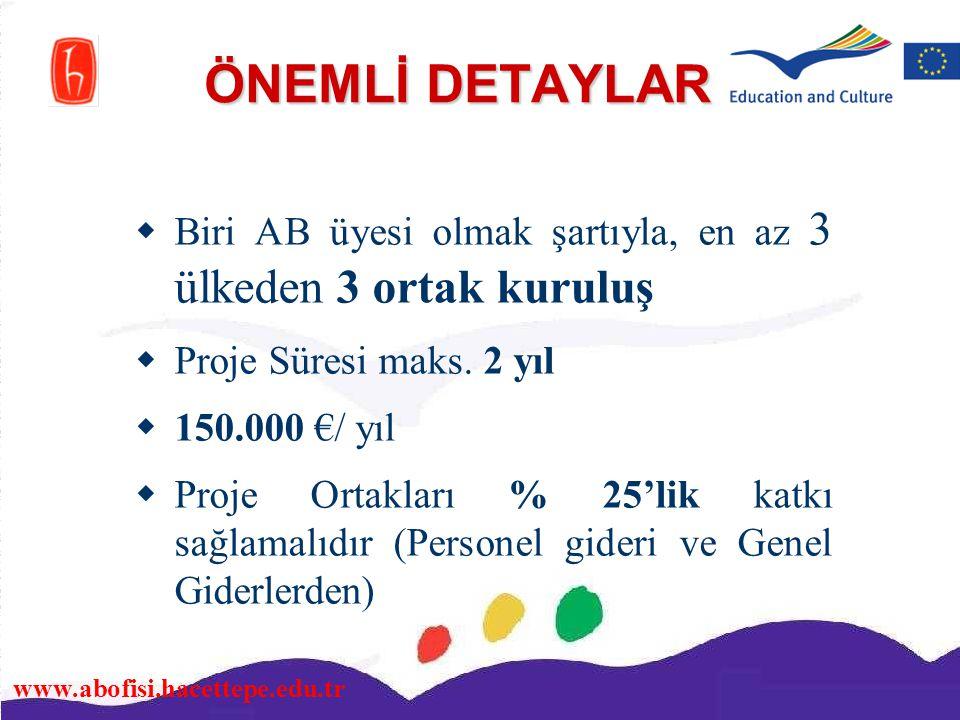 www.abofisi.hacettepe.edu.tr ÖNEMLİ DETAYLAR  Biri AB üyesi olmak şartıyla, en az 3 ülkeden 3 ortak kuruluş  Proje Süresi maks. 2 yıl  150.000 €/ y
