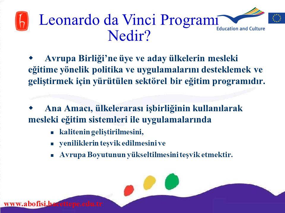 www.abofisi.hacettepe.edu.tr Leonardo da Vinci Programı Nedir?  Avrupa Birliği'ne üye ve aday ülkelerin mesleki eğitime yönelik politika ve uygulamal