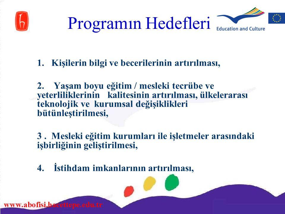 www.abofisi.hacettepe.edu.tr Programın Hedefleri 1. Kişilerin bilgi ve becerilerinin artırılması, 2. Yaşam boyu eğitim / mesleki tecrübe ve yeterlilik