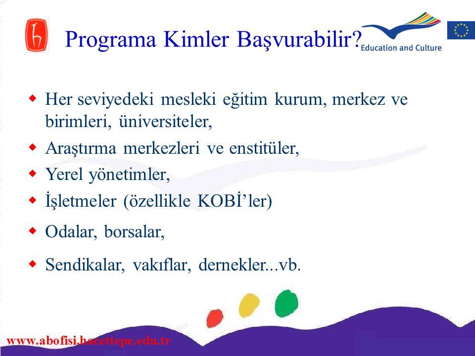www.abofisi.hacettepe.edu.tr Programa Kimler Başvurabilir?  Her seviyedeki mesleki eğitim kurum, merkez ve birimleri, üniversiteler,  Araştırma merk