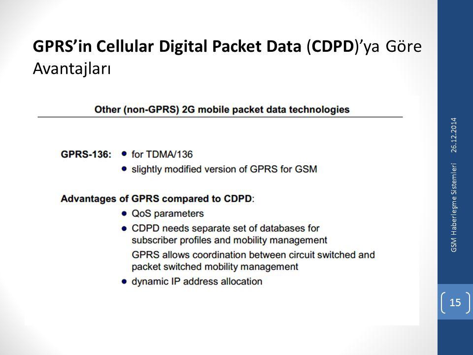 GPRS'in Cellular Digital Packet Data (CDPD)'ya Göre Avantajları 26.12.2014 GSM Haberleşme Sistemleri 15