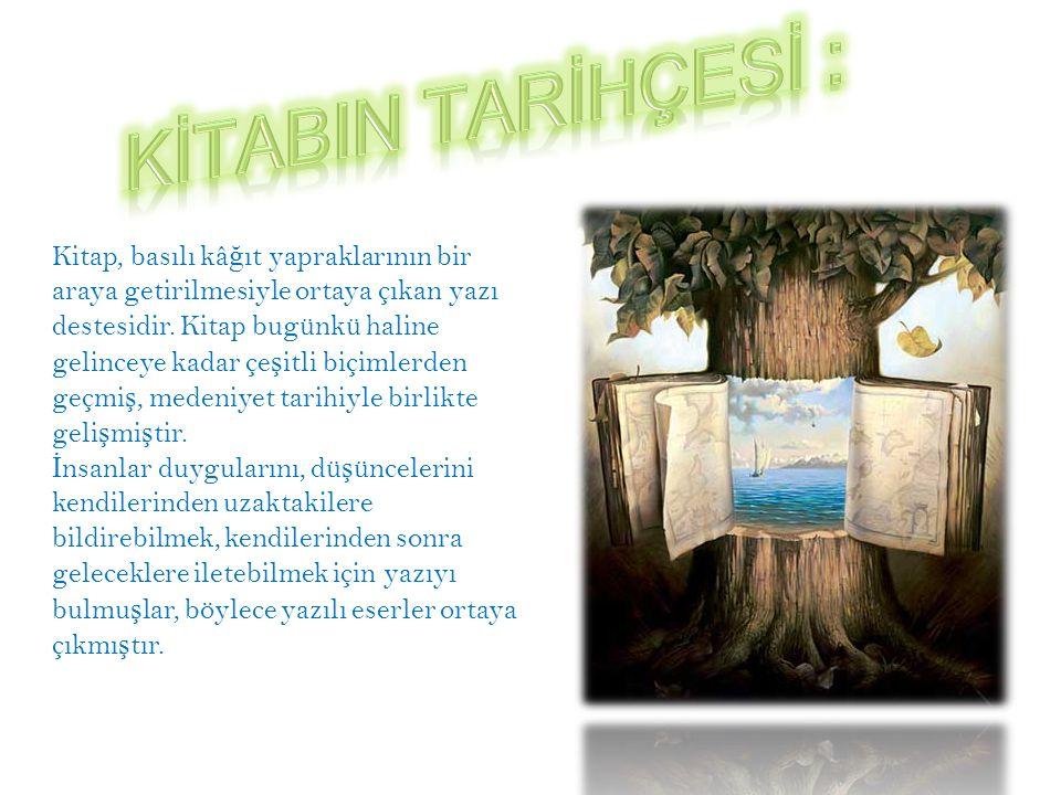 Kitap, basılı kâ ğ ıt yapraklarının bir araya getirilmesiyle ortaya çıkan yazı destesidir.
