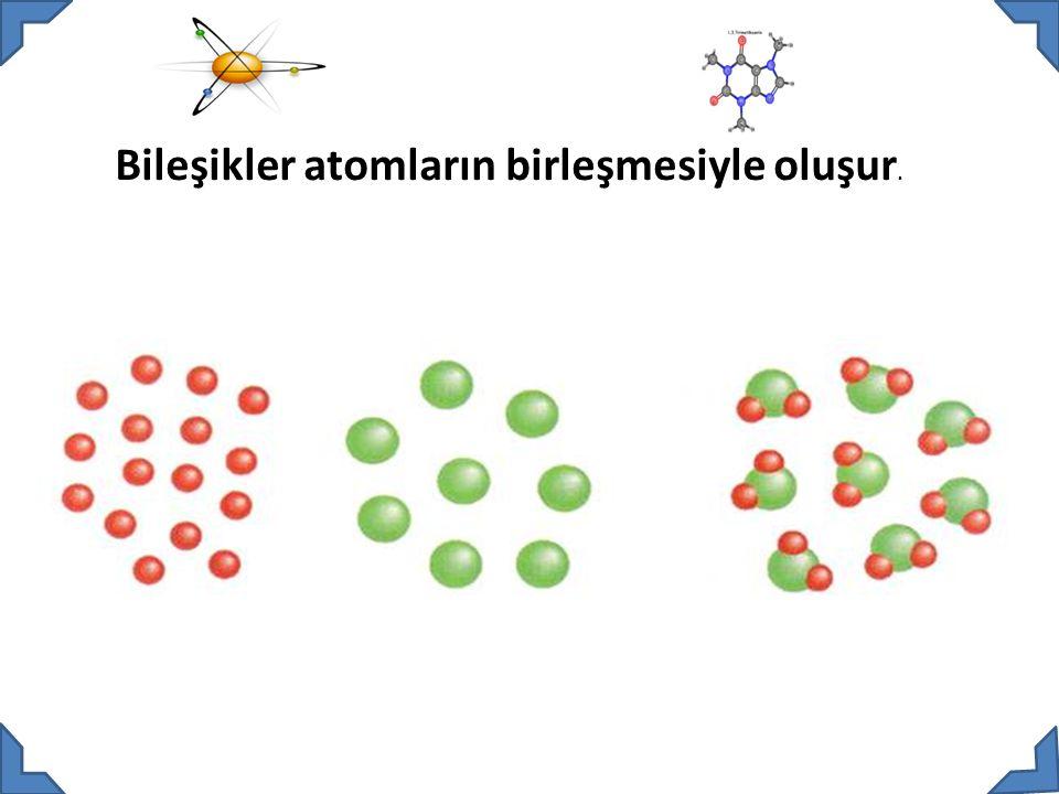 Bileşikler atomların birleşmesiyle oluşur.