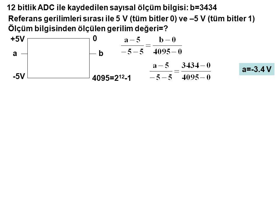 12 bitlik ADC ile kaydedilen sayısal ölçüm bilgisi: b=3434 Referans gerilimleri sırası ile 5 V (tüm bitler 0) ve –5 V (tüm bitler 1) Ölçüm bilgisinden
