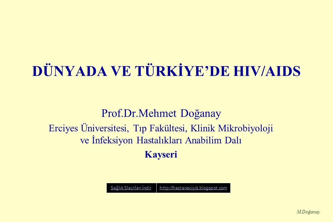 M.Doğanay Türkiye'de Bildirilen AIDS Vakaları ve Taşıyıcıların Yaş ve Cinsiyete göre Dağılımı Yaş gruplarıErkek KadınToplam 0-9101020 10-19172037 20-29221131352 30-3928973362 40-4911430144 50-59552581 60+281240 Bilinmeyen8026106 TOPLAM8143271141