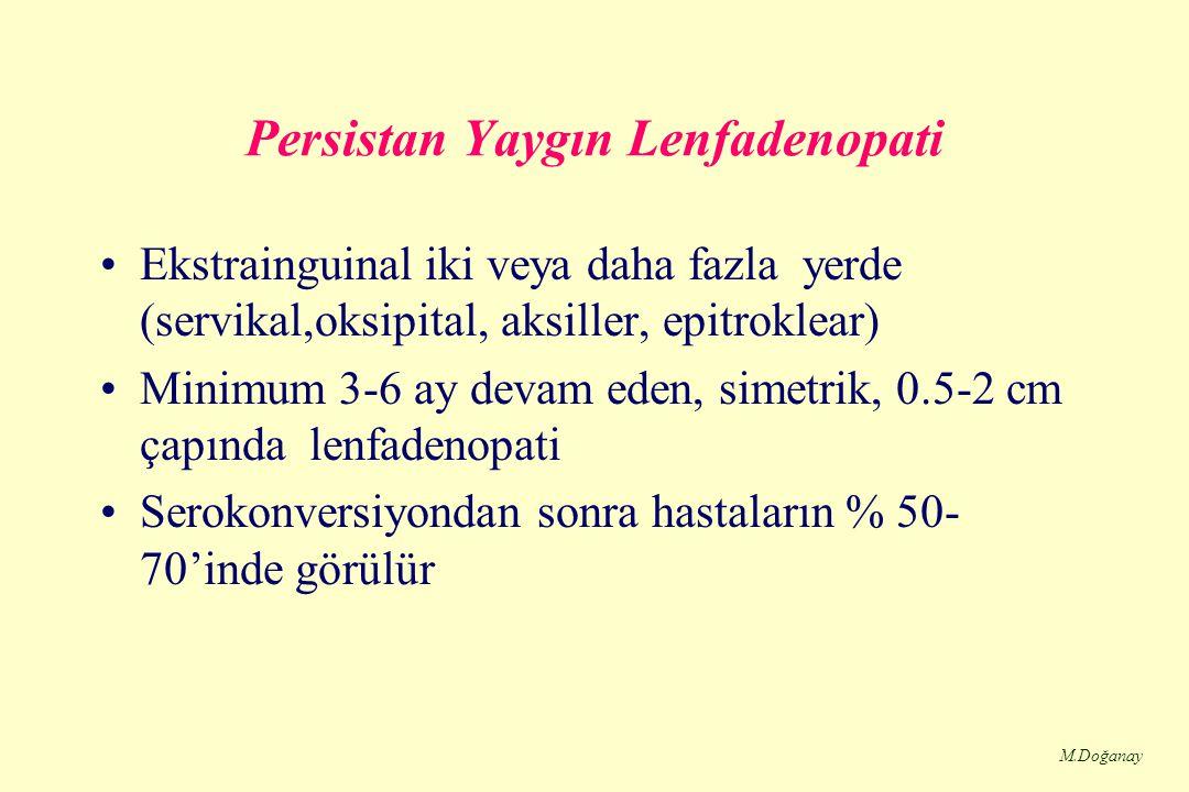 M.Doğanay Persistan Yaygın Lenfadenopati Ekstrainguinal iki veya daha fazla yerde (servikal,oksipital, aksiller, epitroklear) Minimum 3-6 ay devam eden, simetrik, 0.5-2 cm çapında lenfadenopati Serokonversiyondan sonra hastaların % 50- 70'inde görülür
