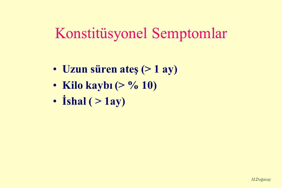 M.Doğanay Konstitüsyonel Semptomlar Uzun süren ateş (> 1 ay) Kilo kaybı (> % 10) İshal ( > 1ay)