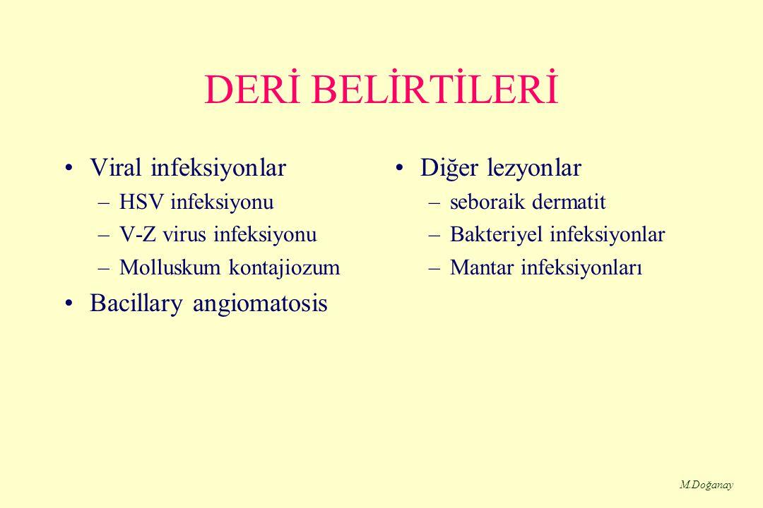 M.Doğanay DERİ BELİRTİLERİ Viral infeksiyonlar –HSV infeksiyonu –V-Z virus infeksiyonu –Molluskum kontajiozum Bacillary angiomatosis Diğer lezyonlar –seboraik dermatit –Bakteriyel infeksiyonlar –Mantar infeksiyonları