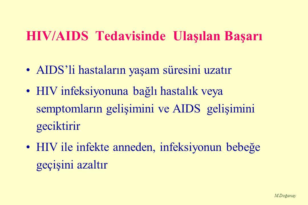 M.Doğanay HIV/AIDS Tedavisinde Ulaşılan Başarı AIDS'li hastaların yaşam süresini uzatır HIV infeksiyonuna bağlı hastalık veya semptomların gelişimini ve AIDS gelişimini geciktirir HIV ile infekte anneden, infeksiyonun bebeğe geçişini azaltır
