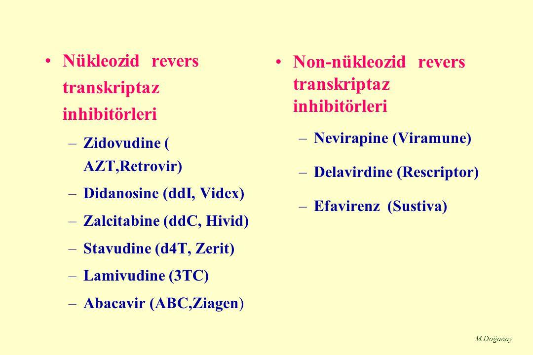 M.Doğanay Nükleozid revers transkriptaz inhibitörleri –Zidovudine ( AZT,Retrovir) –Didanosine (ddI, Videx) –Zalcitabine (ddC, Hivid) –Stavudine (d4T, Zerit) –Lamivudine (3TC) –Abacavir (ABC,Ziagen) Non-nükleozid revers transkriptaz inhibitörleri –Nevirapine (Viramune) –Delavirdine (Rescriptor) –Efavirenz (Sustiva)