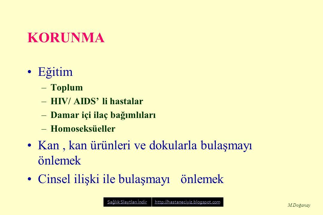 M.Doğanay KORUNMA Eğitim –Toplum –HIV/ AIDS' li hastalar –Damar içi ilaç bağımlıları –Homoseksüeller Kan, kan ürünleri ve dokularla bulaşmayı önlemek Cinsel ilişki ile bulaşmayı önlemek Sağlık Slaytları İndirhttp://hastaneciyiz.blogspot.com