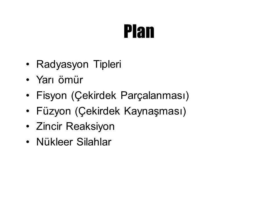Plan Radyasyon Tipleri Yarı ömür Fisyon (Çekirdek Parçalanması) Füzyon (Çekirdek Kaynaşması) Zincir Reaksiyon Nükleer Silahlar