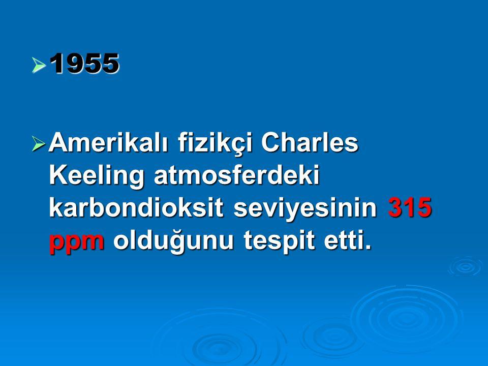  1955  Amerikalı fizikçi Charles Keeling atmosferdeki karbondioksit seviyesinin 315 ppm olduğunu tespit etti.