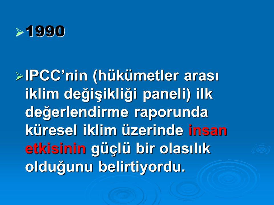  1990  IPCC'nin (hükümetler arası iklim değişikliği paneli) ilk değerlendirme raporunda küresel iklim üzerinde insan etkisinin güçlü bir olasılık olduğunu belirtiyordu.