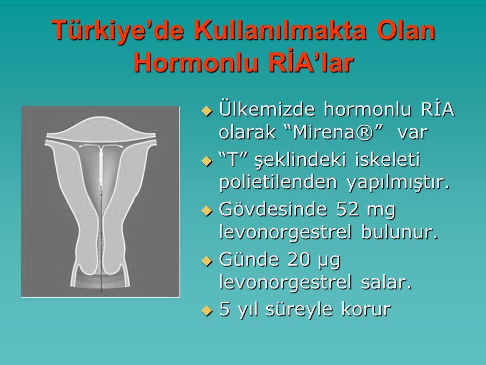 Türkiye'de Kullanılmakta Olan Hormonlu RİA'lar  Ülkemizde hormonlu RİA olarak Mirena® var  T şeklindeki iskeleti polietilenden yapılmıştır.