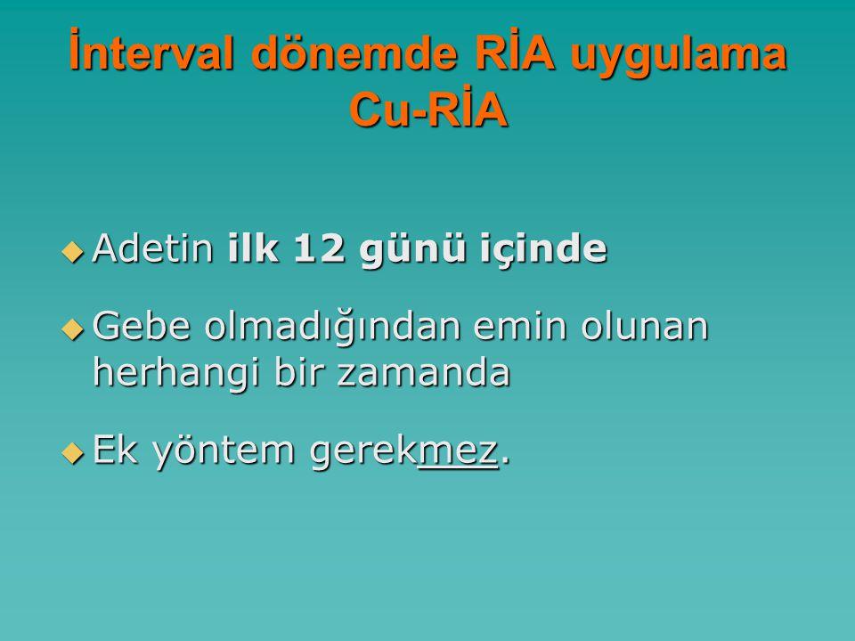İnterval dönemde RİA uygulama Cu-RİA  Adetin ilk 12 günü içinde  Gebe olmadığından emin olunan herhangi bir zamanda  Ek yöntem gerekmez.