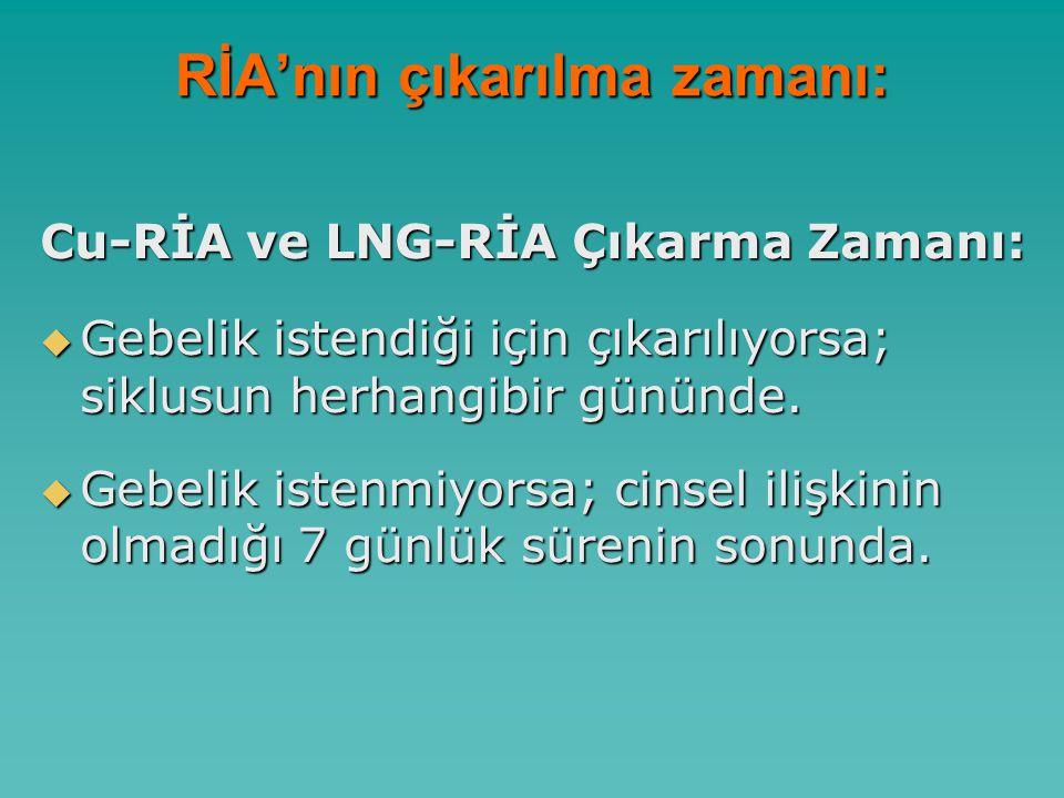 RİA'nın çıkarılma zamanı: Cu-RİA ve LNG-RİA Çıkarma Zamanı:  Gebelik istendiği için çıkarılıyorsa; siklusun herhangibir gününde.