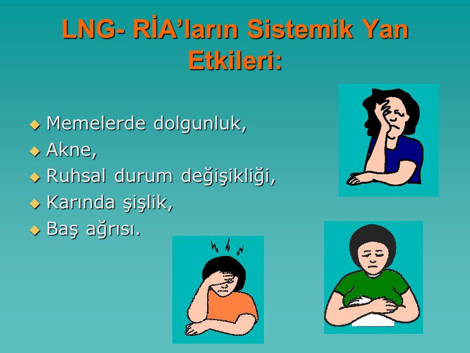 LNG- RİA'ların Sistemik Yan Etkileri:  Memelerde dolgunluk,  Akne,  Ruhsal durum değişikliği,  Karında şişlik,  Baş ağrısı.