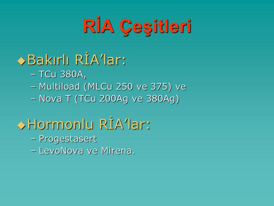 RİA Çeşitleri  Bakırlı RİA'lar: –TCu 380A, –Multiload (MLCu 250 ve 375) ve –Nova T (TCu 200Ag ve 380Ag)  Hormonlu RİA'lar: –Progestasert –LevoNova ve Mirena.