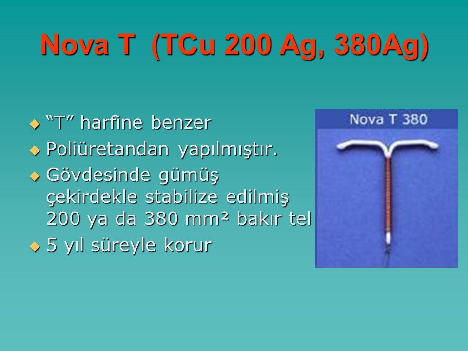 Nova T (TCu 200 Ag, 380Ag)  T harfine benzer  Poliüretandan yapılmıştır.