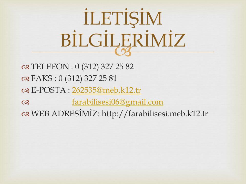   TELEFON : 0 (312) 327 25 82  FAKS : 0 (312) 327 25 81  E-POSTA : 262535@meb.k12.tr262535@meb.k12.tr  farabilisesi06@gmail.comfarabilisesi06@gmail.com  WEB ADRESİMİZ: http://farabilisesi.meb.k12.tr İLETİŞİM BİLGİLERİMİZ