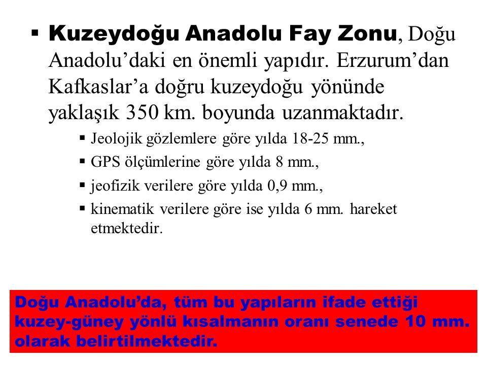  Kuzeydoğu Anadolu Fay Zonu, Doğu Anadolu'daki en önemli yapıdır. Erzurum'dan Kafkaslar'a doğru kuzeydoğu yönünde yaklaşık 350 km. boyunda uzanmaktad