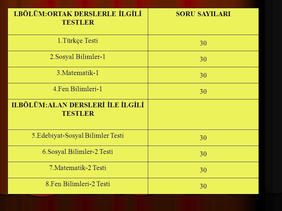 I.BÖLÜM:ORTAK DERSLERLE İLGİLİ TESTLER SORU SAYILARI 1.Türkçe Testi 30 2.Sosyal Bilimler-1 30 3.Matematik-1 30 4.Fen Bilimleri-1 30 II.BÖLÜM:ALAN DERS