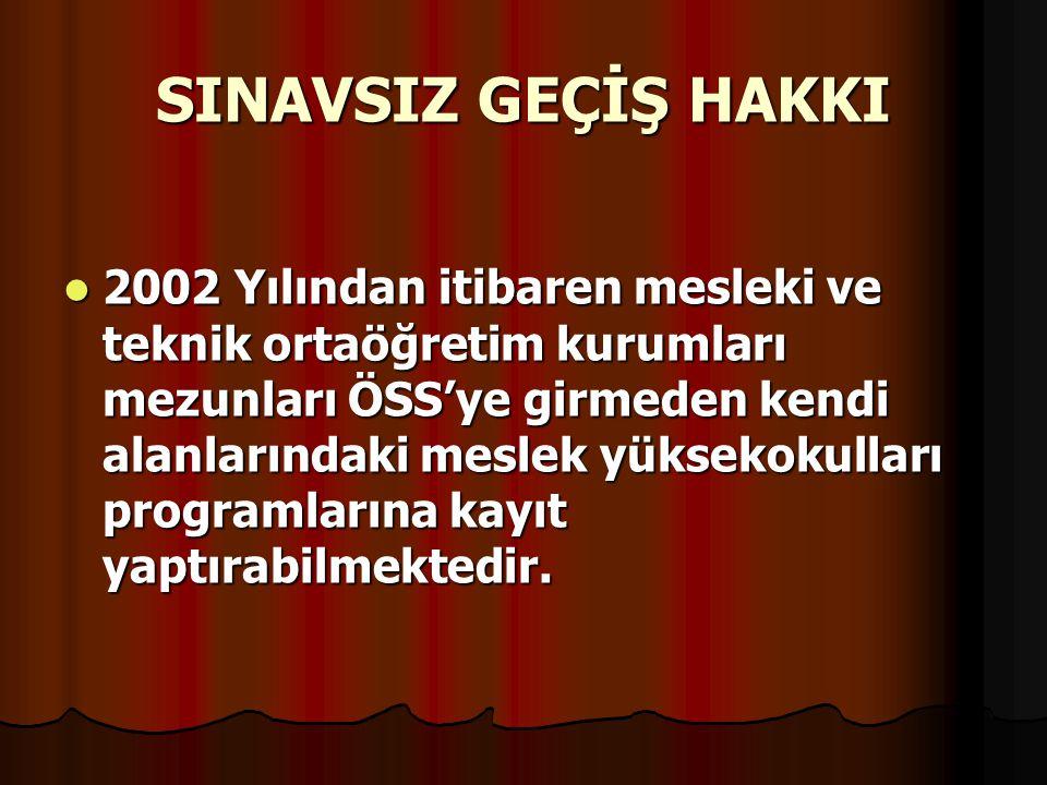 SINAVSIZ GEÇİŞ HAKKI 2002 Yılından itibaren mesleki ve teknik ortaöğretim kurumları mezunları ÖSS'ye girmeden kendi alanlarındaki meslek yüksekokulları programlarına kayıt yaptırabilmektedir.