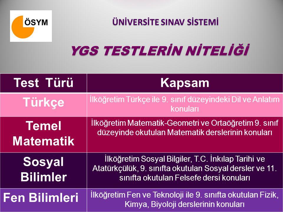 ÜNİVERSİTE SINAV SİSTEMİ Test TürüKapsam Türkçe İlköğretim Türkçe ile 9. sınıf düzeyindeki Dil ve Anlatım konuları Temel Matematik İlköğretim Matemati